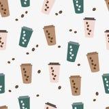 Nette Kaffeetasse des nahtlosen Musters des Vektors Lizenzfreie Stockfotografie