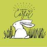 Nette Kaninchen, Illustration des Handabgehobenen betrages mit Beschriftung Phrase-glückliches Ostern Vektorillustrationssatz-Cha vektor abbildung