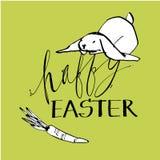 Nette Kaninchen, Illustration des Handabgehobenen betrages mit Beschriftung Phrase-glückliches Ostern Vektorillustrationssatz-Cha lizenzfreie abbildung