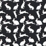 Nette Kaninchenillustration, nahtloses Muster auf blauem Hintergrund stock abbildung