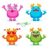 Nette Karikatur-bunte Monster-Gefühle, glücklich, verärgert, Schreien und Liebe Stockfotografie