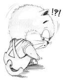 Nette Karikatur der Katze, die und erbärmlich einsam sich fühlt Stockfotos