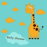 Nette Karikatur einer Giraffe mit stilvollem Text der Babyparty auf blauem Hintergrundmuster-Babyhintergrund Lizenzfreie Stockfotografie