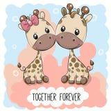 Nette Karikatur-Giraffen Junge und Mädchen lizenzfreie abbildung