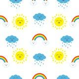 Nette Karikatur kawaii Sonne, Wolke mit Regen, Regenbogensatz Lächelndes Gesichtsgefühl Babycharakter nahtloses Muster-Packpapier Stockfotografie