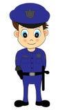 Nette Karikatur-männliche Polizeibeamte in der blauen Uniform Stockfotos