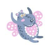Nette Karikatur mag lächelndes Flusspferd-Charakterfliegen eine Schmetterlingsvektor Illustration Stockbild