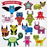 Nette Karikatur Monster eingestellt Große Sammlung auf einem weißen Hintergrund Lizenzfreie Stockfotos