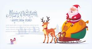 Nette Karikatur Santa Claus, die im Pferdeschlitten mit Ren der Vektorillustration froher Weihnachten horizontaler Fahne sitzt Stockfotografie