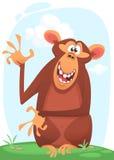 Nette Karikaturaffe-Charakterikone Wellenartig bewegende Hand und Darstellen des Schimpansemaskottchens stockbild