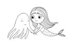 Nette Karikaturmeerjungfrau und -krake Sirene Hintergrundauszug, Abstraktion Handzeichnung lokalisierte Gegenstände auf weißem Hi Lizenzfreie Stockfotografie