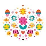 Nette Karikaturpilze, Blumen, Herzen u. Vogelnaturillustration Stockbild