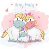 Nette Karikaturponyfamilien-Handzeichnende Art lizenzfreie abbildung