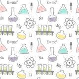 Nette Karikaturwissenschaft und chemischer in Verbindung stehender nahtloser Vektor kopieren Hintergrundillustration Stockfoto