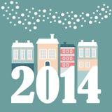 Nette Karte des Weihnachtsneuen Jahres 2014 mit Winterhäusern, fallende Schneeflocken, Illustration Lizenzfreie Stockfotos