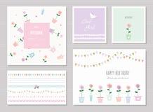 Nette Karten für Mädchen Kann für Babyparty, Geburtstag, Babykleidung verwendet werden stock abbildung
