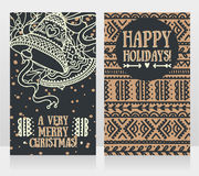 Nette Karten für Weihnachten mit Glocken Lizenzfreie Stockfotografie