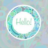 Nette Kartenschablone in den blauen Farben Stilvolle romantische Kartenschablone mit dem Rahmen gemacht vom bunten Gekritzel Lizenzfreie Stockbilder