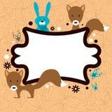 Nette Kartenschablone mit entzückenden wilden Tieren Stockbild