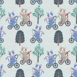 Nette Katze auf Fahrrad im nahtlosen Muster des Gartens lizenzfreie abbildung