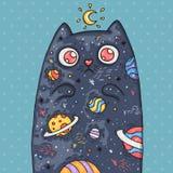 Nette Katze der Karikatur mit dem Universum nach innen Karikaturillustration in der komischen modischen Art stockfotografie
