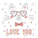 Nette Katze in geformten Gläsern des Herzens lizenzfreie abbildung