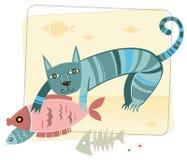 Nette Katze mit Fischen lizenzfreie abbildung
