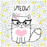 Nette Katze mit Gläsern, T-Shirt Design für Mädchen vector Illustration Romantischer Handzeichnungs-Plakat Pussycat Stockbilder
