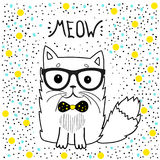Nette Katze mit Gläsern, T-Shirt Design für Mädchen vector Illustrationserkatze Romantisches Handzeichnungsplakat Lizenzfreies Stockbild
