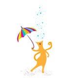 Nette Katze mit Regenschirm Stockfotografie