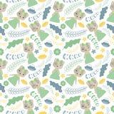 Nette Katze und die Blumenvektorkarikatur, die für Tapete passend ist, entwerfen Stockbild