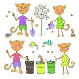 Nette Katzen und Vögel sortieren Abfall und Pflanzenbäume Lizenzfreies Stockbild