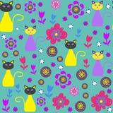 Nette Katzen vector nahtloses Muster und nahtlosen Klaps Lizenzfreie Stockfotografie
