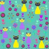 Nette Katzen vector nahtloses Muster und nahtlosen Klaps Lizenzfreie Stockfotos