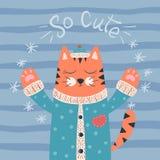 Nette Katzencharaktere Guten Rutsch ins Neue Jahr-Illustration 2019 Idee für Druckt-shirt lizenzfreie abbildung