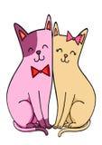 Nette Katzenpaare Abbildung auf weißem Hintergrund stock abbildung