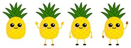Nette kawaii Art Ananas-Fruchtikone, große Augen, lächelnd Version mit den Händen angehoben, unten und dem Wellenartig bewegen lizenzfreie stockfotografie