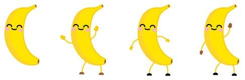 Nette kawaii Art Bananen-Fruchtikone, Augen schloss und lächelte Version mit den Händen angehoben, unten und dem Wellenartig bewe lizenzfreie stockfotos