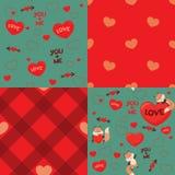 Nette Kawaii-Art Fox-Liebes-Valentinsgruß-Tagesnahtlose Muster-Gestaltungselement-Satz-Vektor-Illustration Lizenzfreies Stockbild