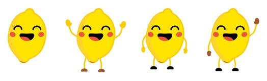 Nette kawaii Art Zitronen-Fruchtikone, Augen schloss und lächelte mit offenem Mund Version mit den Händen angehoben, unten und de lizenzfreies stockbild