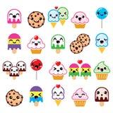 Nette Kawaii-Lebensmittelcharaktere - kleiner Kuchen, Eiscreme, Plätzchen, Lutscherikonen Stockbild