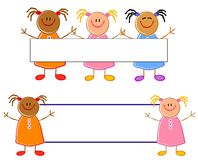 Nette Kind-Zeichnungs-Mädchen-Zeichen Stockfotos