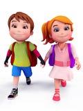 Nette Kinder, die zur Schule mit Schulebeutel gehen Stockbild