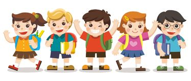 Nette Kinder gehen zur Schule lizenzfreie abbildung