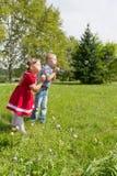 Nette Kinder spielen im Park Stockbilder