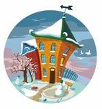 Nette kleine Häuser des Winters, Abbildung. Lizenzfreies Stockfoto