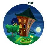 Nette kleine Häuser nachts Stockbild