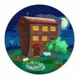 Nette kleine Häuser nachts. Stockfotos