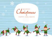 Nette kleine Jungen für frohe Weihnachten lizenzfreie abbildung