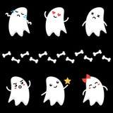 Nette kleine Karikaturgeistcharaktere mit verschiedenen Gesichtsausdrücken Emoji-Satz, Sammlung auf dunklem Hintergrund Stockbild